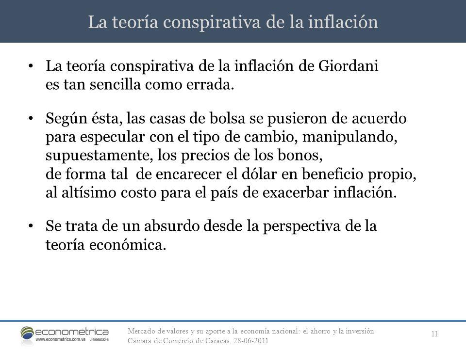La teoría conspirativa de la inflación 11 La teoría conspirativa de la inflación de Giordani es tan sencilla como errada. Según ésta, las casas de bol