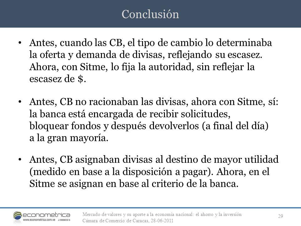 Conclusión 29 Antes, cuando las CB, el tipo de cambio lo determinaba la oferta y demanda de divisas, reflejando su escasez. Ahora, con Sitme, lo fija