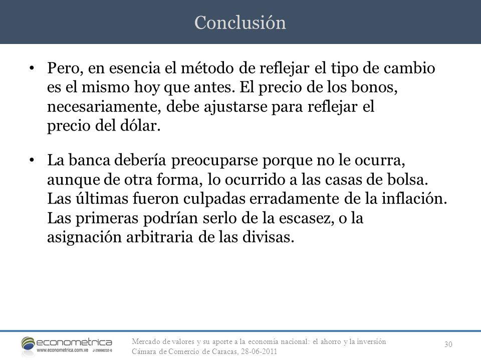 Conclusión 30 Pero, en esencia el método de reflejar el tipo de cambio es el mismo hoy que antes. El precio de los bonos, necesariamente, debe ajustar