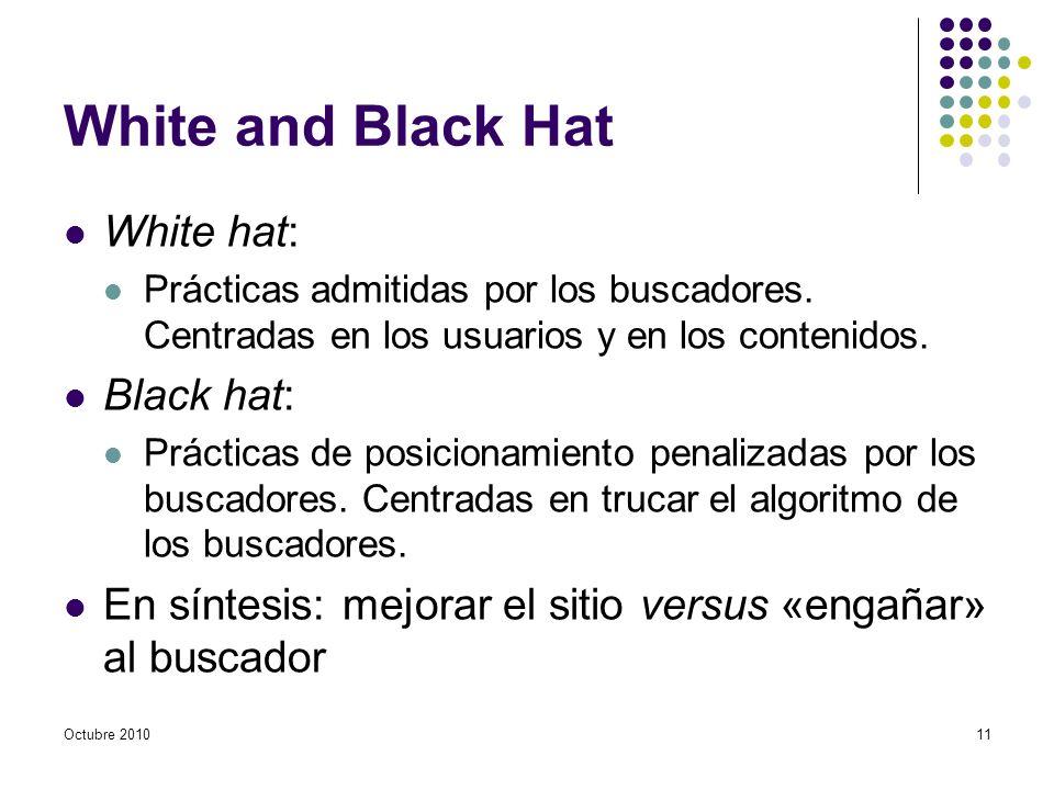 White and Black Hat White hat: Prácticas admitidas por los buscadores. Centradas en los usuarios y en los contenidos. Black hat: Prácticas de posicion