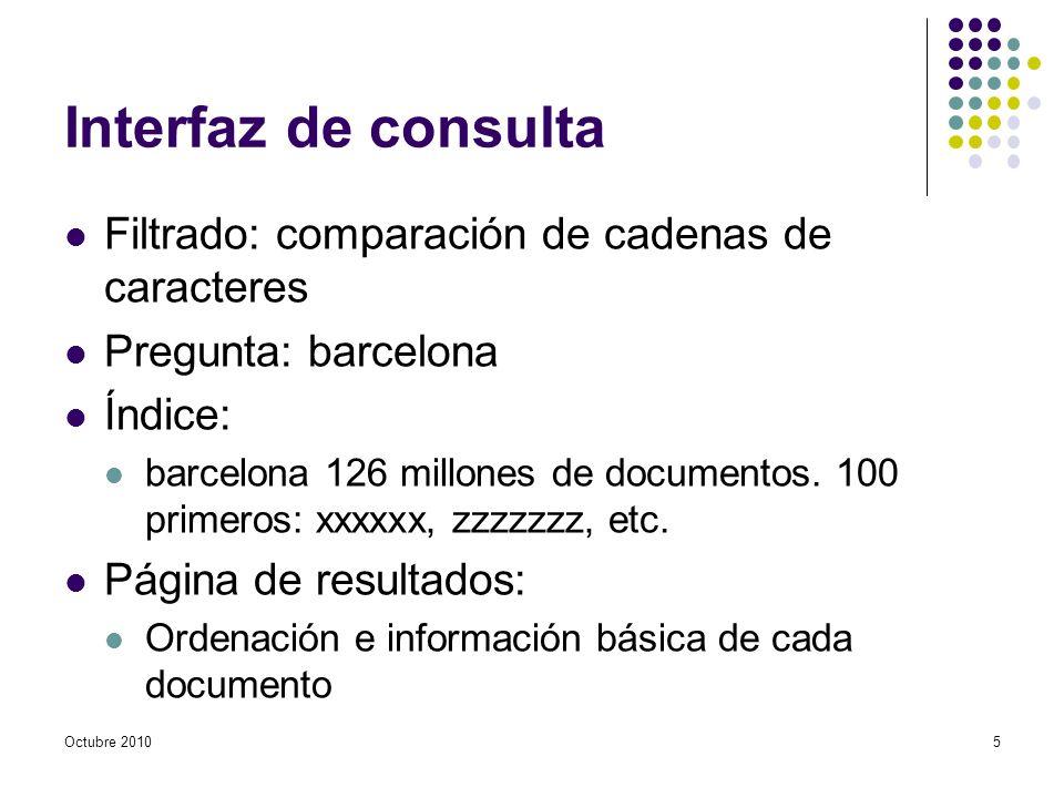 Interfaz de consulta Filtrado: comparación de cadenas de caracteres Pregunta: barcelona Índice: barcelona 126 millones de documentos.