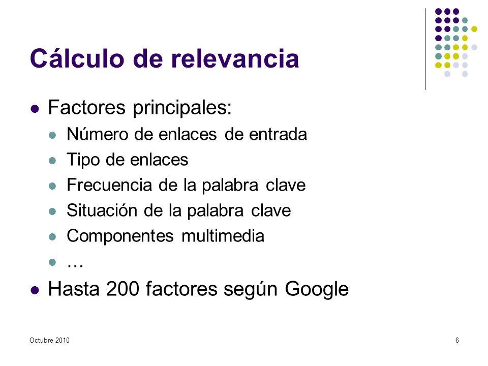 Cálculo de relevancia Factores principales: Número de enlaces de entrada Tipo de enlaces Frecuencia de la palabra clave Situación de la palabra clave Componentes multimedia … Hasta 200 factores según Google Octubre 20106