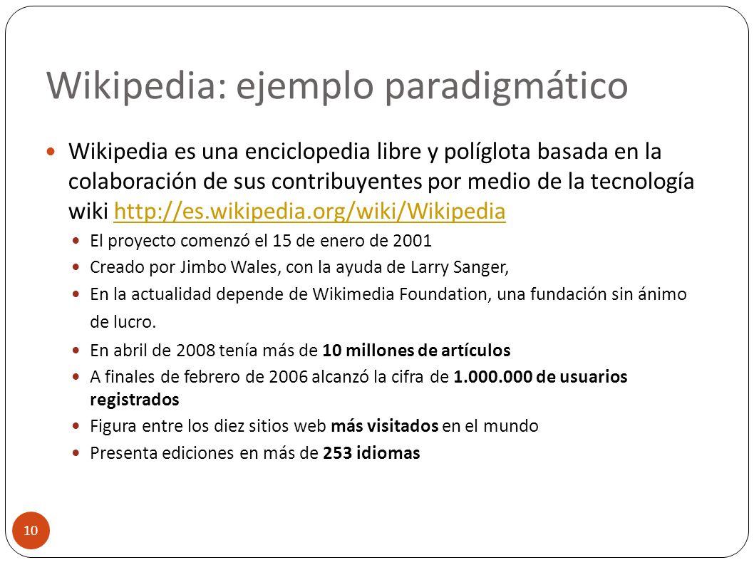 Wikipedia: ejemplo paradigmático 10 Wikipedia es una enciclopedia libre y políglota basada en la colaboración de sus contribuyentes por medio de la te