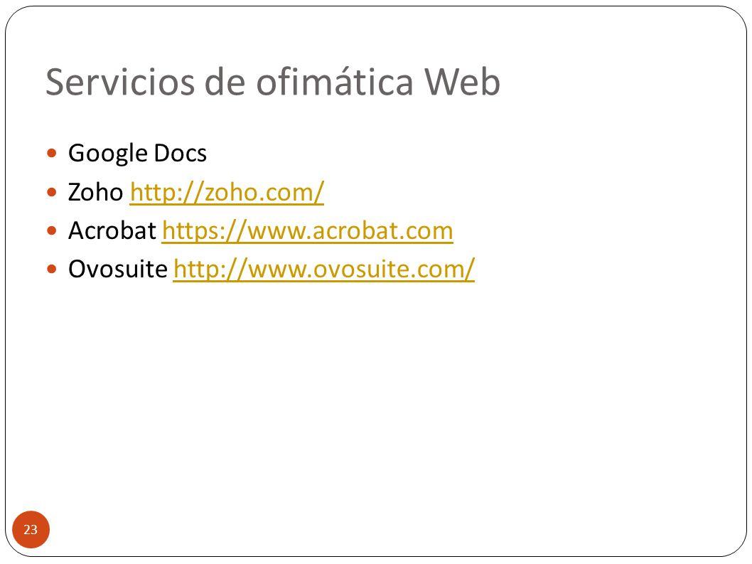 Servicios de ofimática Web 23 Google Docs Zoho http://zoho.com/http://zoho.com/ Acrobat https://www.acrobat.comhttps://www.acrobat.com Ovosuite http:/