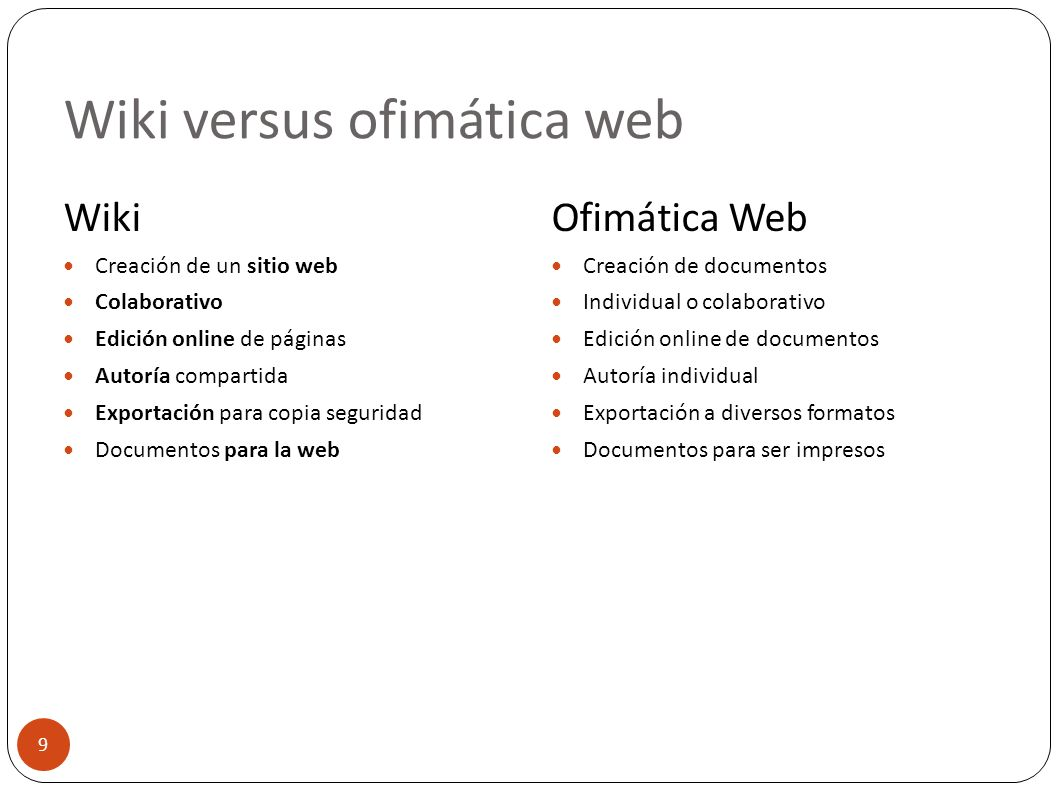 Wiki versus ofimática web 9 Wiki Creación de un sitio web Colaborativo Edición online de páginas Autoría compartida Exportación para copia seguridad D