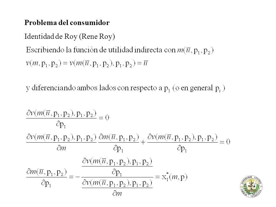 Problema del consumidor Identidad de Roy (Rene Roy)