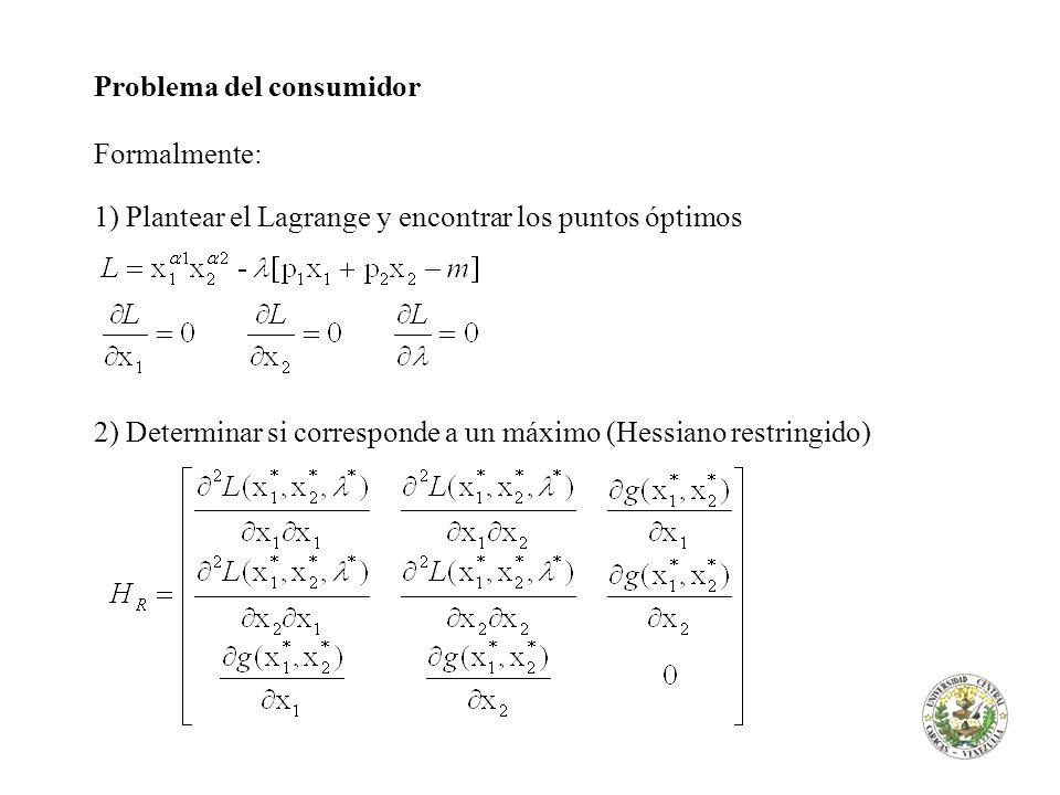 Problema del consumidor Formalmente: 1) Plantear el Lagrange y encontrar los puntos óptimos 2) Determinar si corresponde a un máximo (Hessiano restrin