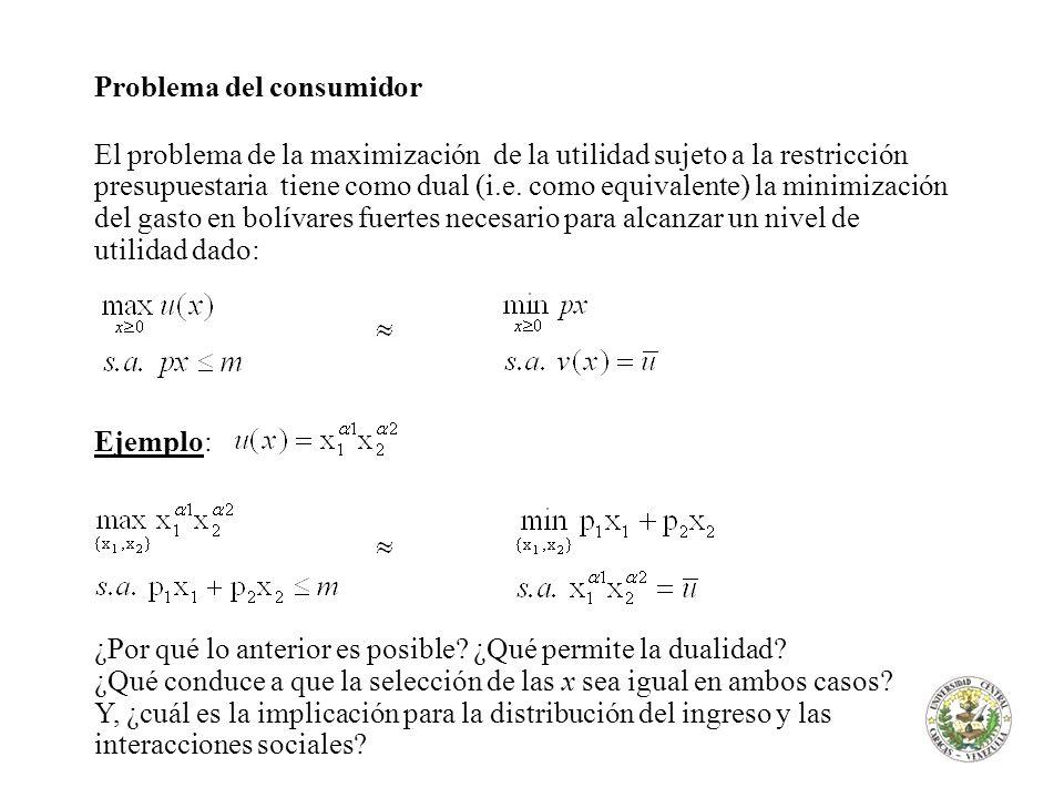 Problema del consumidor Formalmente: 1) Plantear el Lagrange y encontrar los puntos óptimos 2) Determinar si corresponde a un máximo (Hessiano restringido)