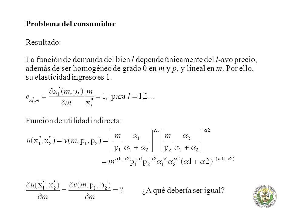 Problema del consumidor Resultado: La función de demanda del bien l depende únicamente del l-avo precio, además de ser homogéneo de grado 0 en m y p,