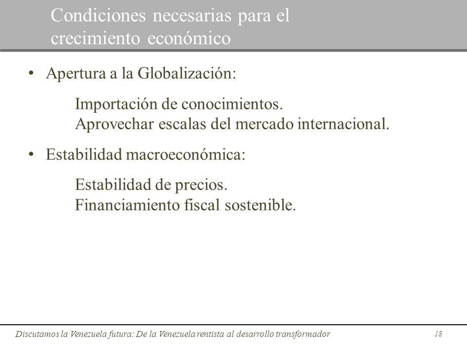 Apertura a la Globalización: Importación de conocimientos. Aprovechar escalas del mercado internacional. Estabilidad macroeconómica: Estabilidad de pr