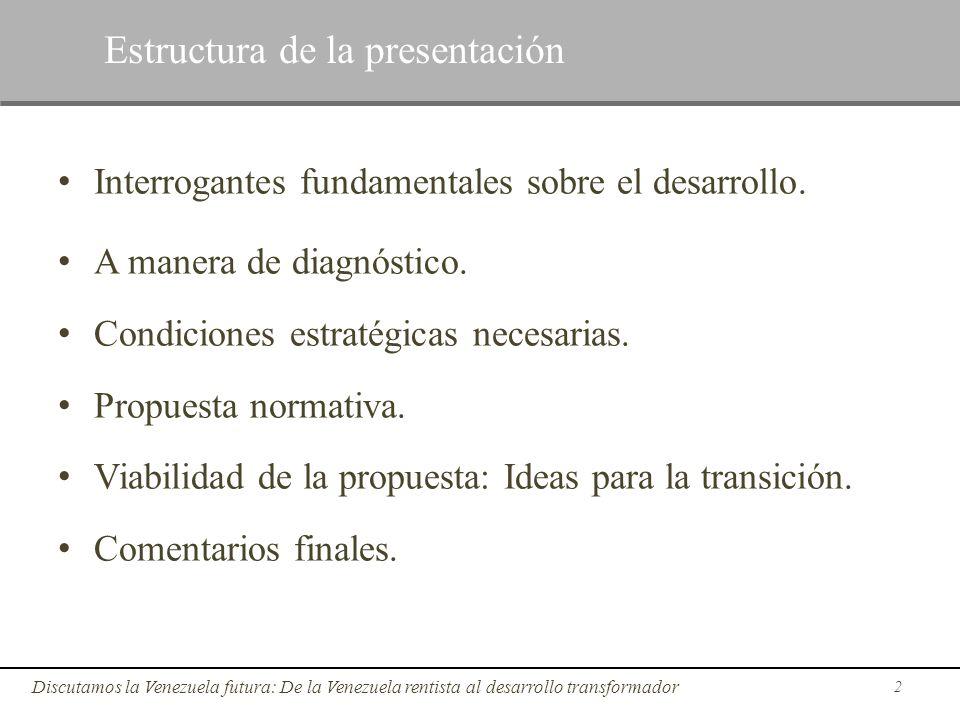 Interrogantes fundamentales sobre el desarrollo. A manera de diagnóstico. Condiciones estratégicas necesarias. Propuesta normativa. Viabilidad de la p