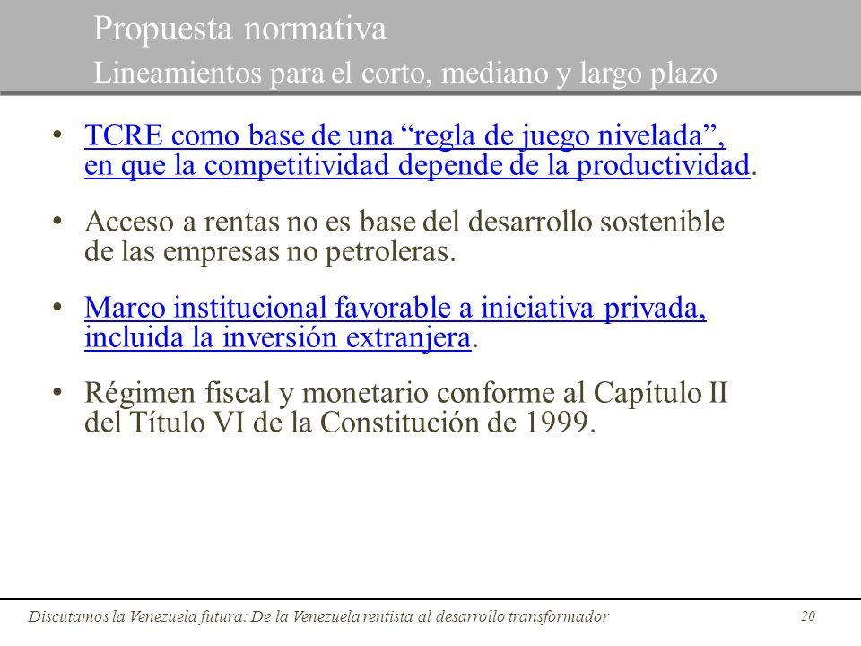 20 Discutamos la Venezuela futura: De la Venezuela rentista al desarrollo transformador Propuesta normativa Lineamientos para el corto, mediano y larg