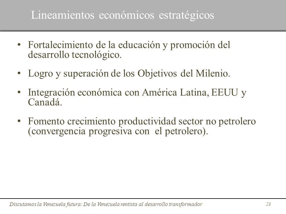 Fortalecimiento de la educación y promoción del desarrollo tecnológico. Logro y superación de los Objetivos del Milenio. Integración económica con Amé