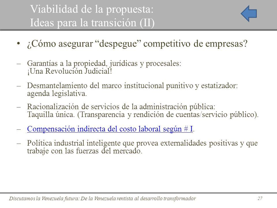 27 Discutamos la Venezuela futura: De la Venezuela rentista al desarrollo transformador Viabilidad de la propuesta: Ideas para la transición (II) ¿Cóm