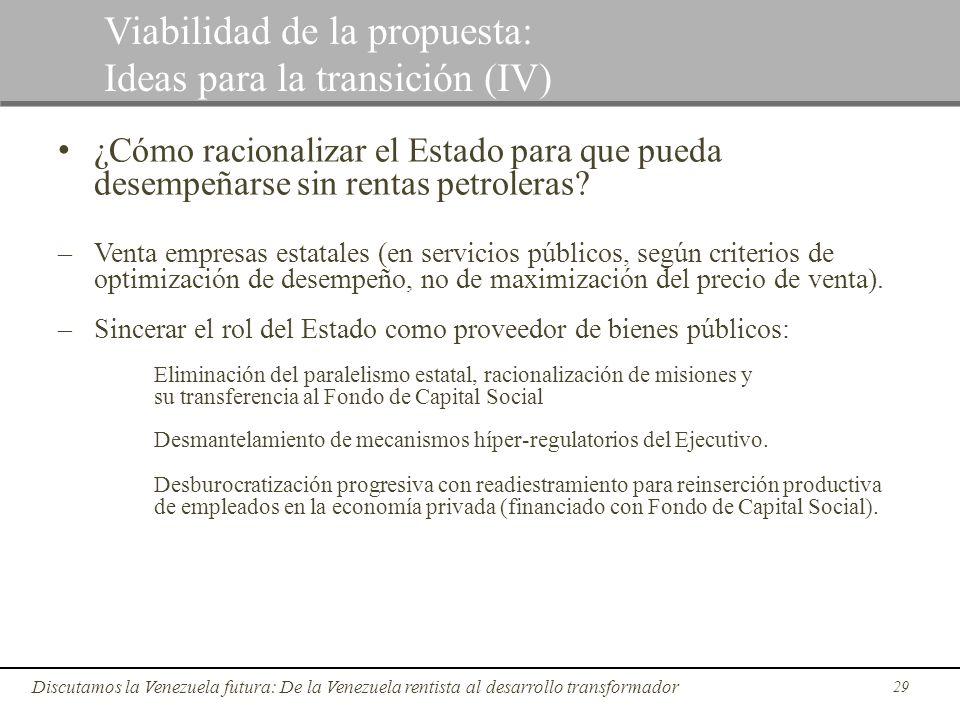 29 Discutamos la Venezuela futura: De la Venezuela rentista al desarrollo transformador Viabilidad de la propuesta: Ideas para la transición (IV) ¿Cóm