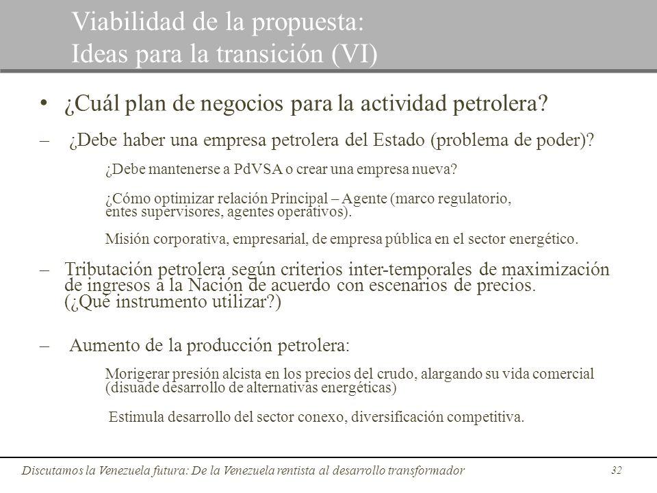 32 Discutamos la Venezuela futura: De la Venezuela rentista al desarrollo transformador Viabilidad de la propuesta: Ideas para la transición (VI) ¿Cuá