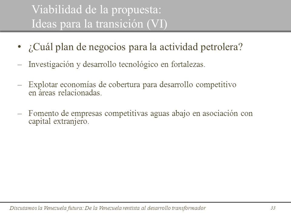 33 Discutamos la Venezuela futura: De la Venezuela rentista al desarrollo transformador Viabilidad de la propuesta: Ideas para la transición (VI) ¿Cuá