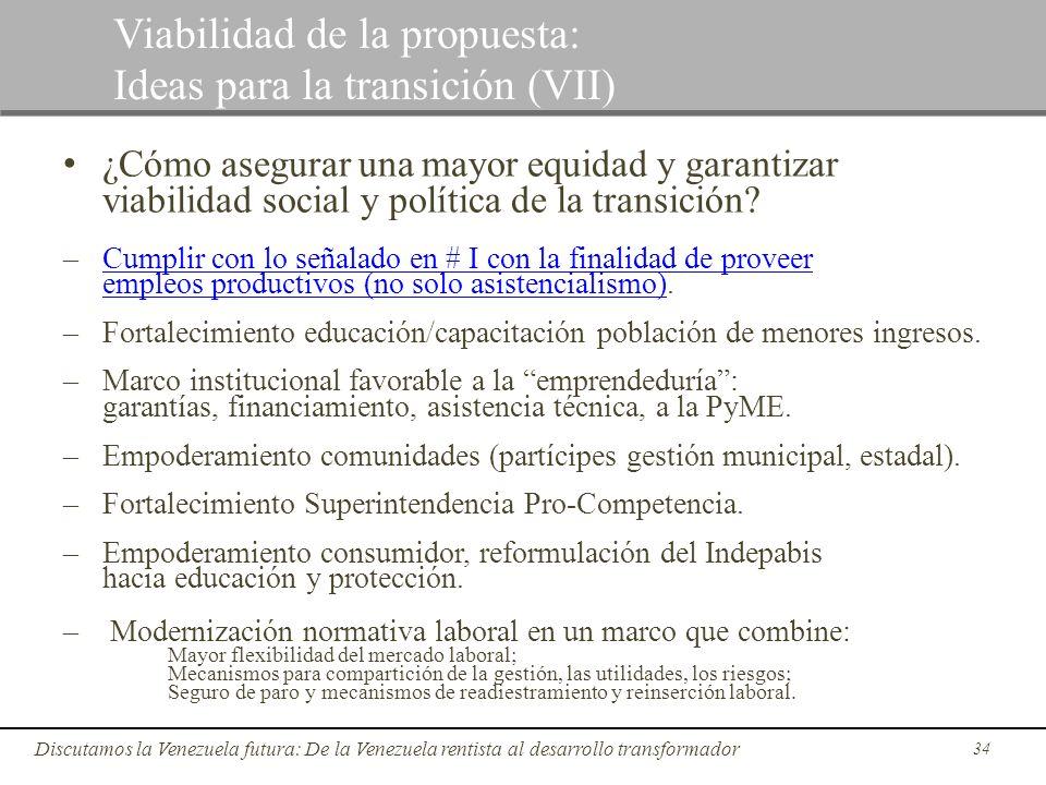 34 Discutamos la Venezuela futura: De la Venezuela rentista al desarrollo transformador Viabilidad de la propuesta: Ideas para la transición (VII) ¿Có