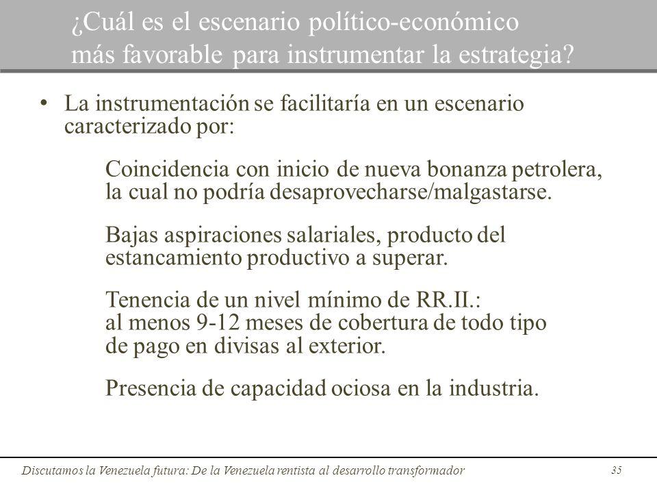 35 Discutamos la Venezuela futura: De la Venezuela rentista al desarrollo transformador ¿Cuál es el escenario político-económico más favorable para in