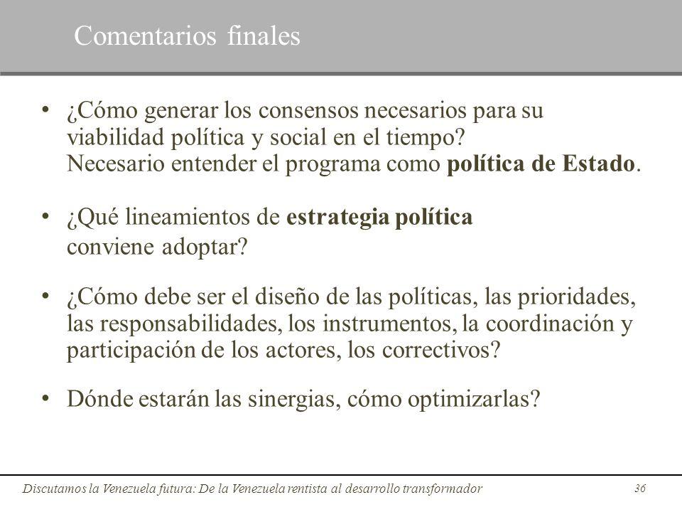 36 Discutamos la Venezuela futura: De la Venezuela rentista al desarrollo transformador ¿Cómo generar los consensos necesarios para su viabilidad polí