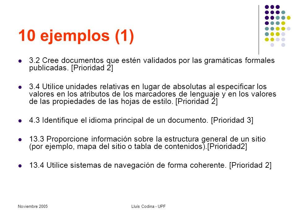 Noviembre 2005Lluís Codina - UPF 10 ejemplos (1) 3.2 Cree documentos que estén validados por las gramáticas formales publicadas. [Prioridad 2] 3.4 Uti