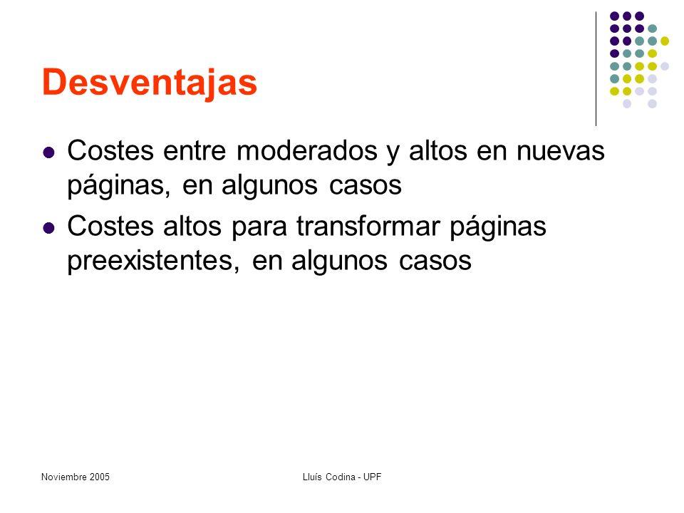 Noviembre 2005Lluís Codina - UPF Desventajas Costes entre moderados y altos en nuevas páginas, en algunos casos Costes altos para transformar páginas preexistentes, en algunos casos