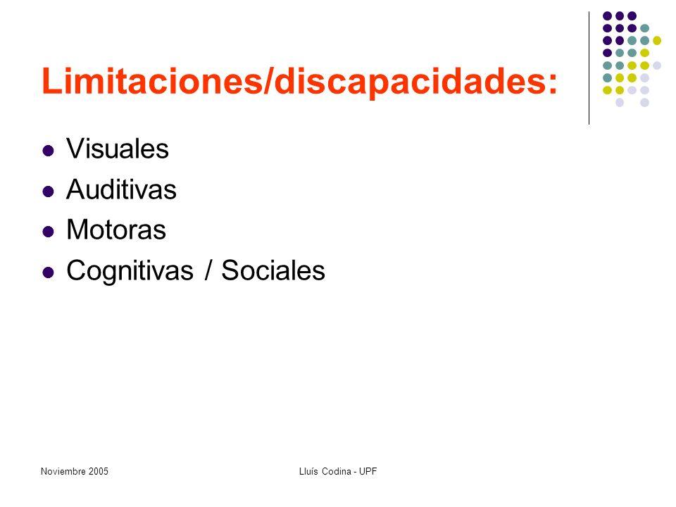Noviembre 2005Lluís Codina - UPF Limitaciones/discapacidades: Visuales Auditivas Motoras Cognitivas / Sociales