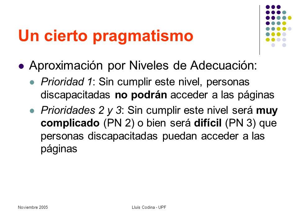 Noviembre 2005Lluís Codina - UPF Un cierto pragmatismo Aproximación por Niveles de Adecuación: Prioridad 1: Sin cumplir este nivel, personas discapaci
