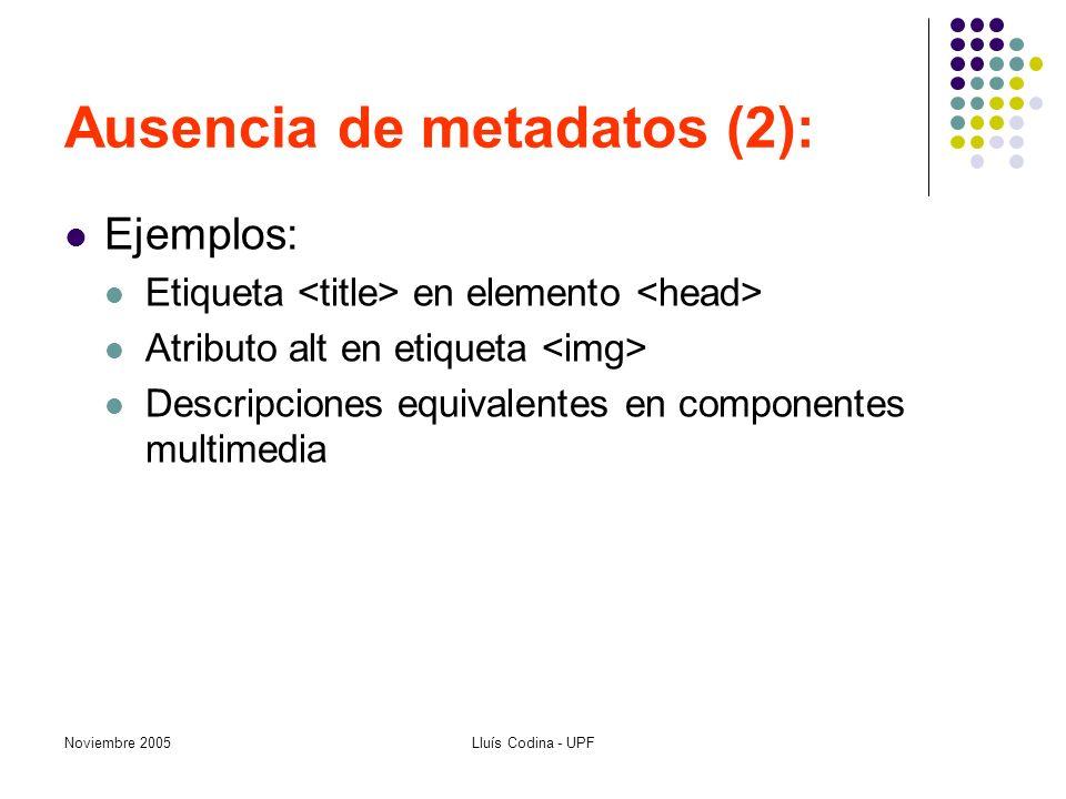 Noviembre 2005Lluís Codina - UPF Ausencia de metadatos (2): Ejemplos: Etiqueta en elemento Atributo alt en etiqueta Descripciones equivalentes en componentes multimedia