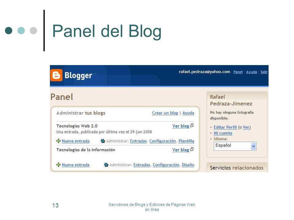 Servidores de Blogs y Editores de Páginas Web en línea 13 Panel del Blog