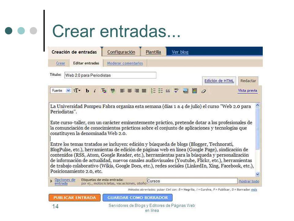 Servidores de Blogs y Editores de Páginas Web en línea 14 Crear entradas...