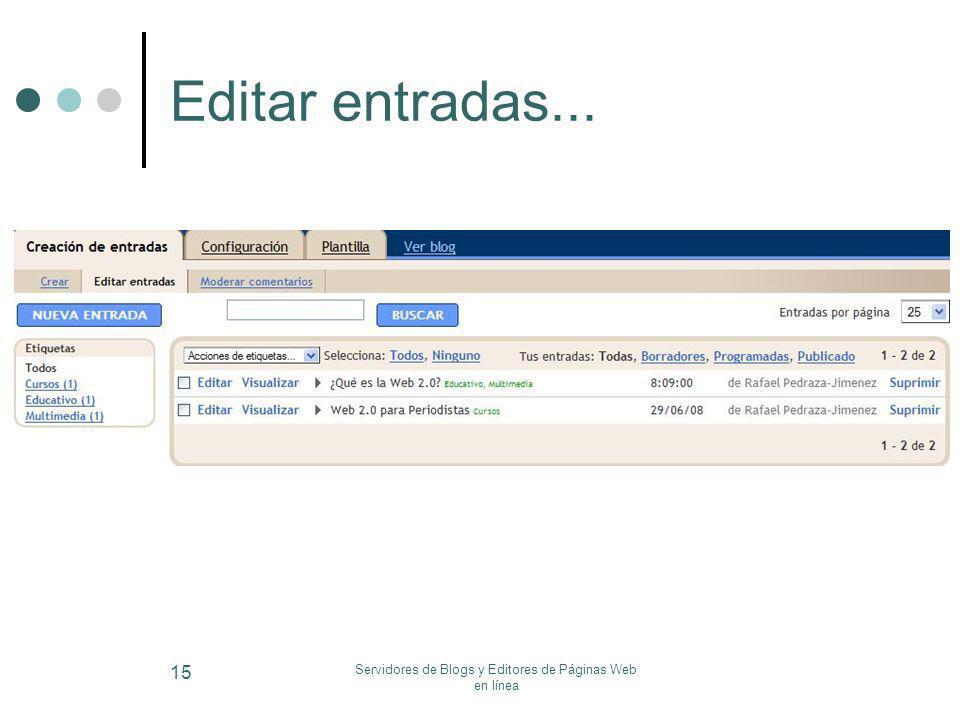 Servidores de Blogs y Editores de Páginas Web en línea 15 Editar entradas...