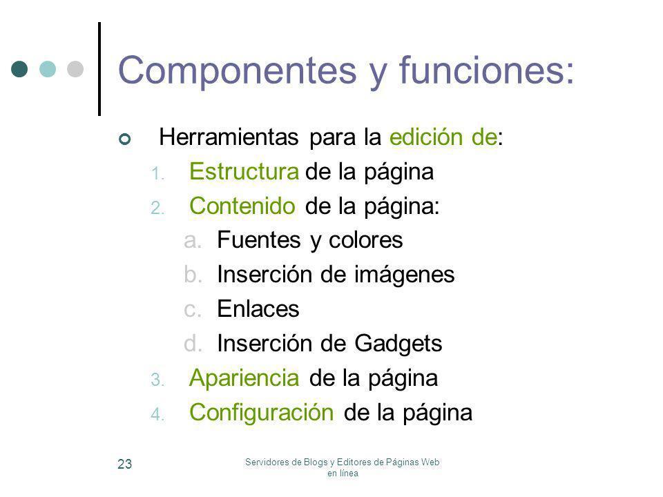 Servidores de Blogs y Editores de Páginas Web en línea 23 Componentes y funciones: Herramientas para la edición de: 1. Estructura de la página 2. Cont