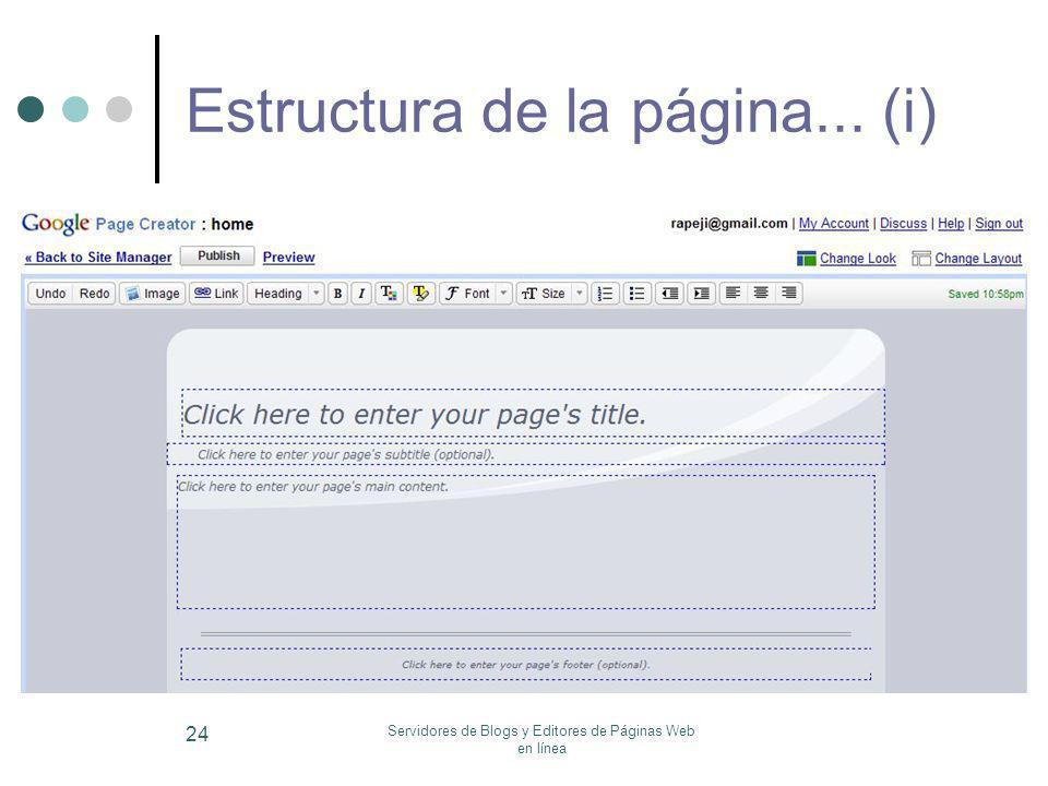 Servidores de Blogs y Editores de Páginas Web en línea 24 Estructura de la página... (i)