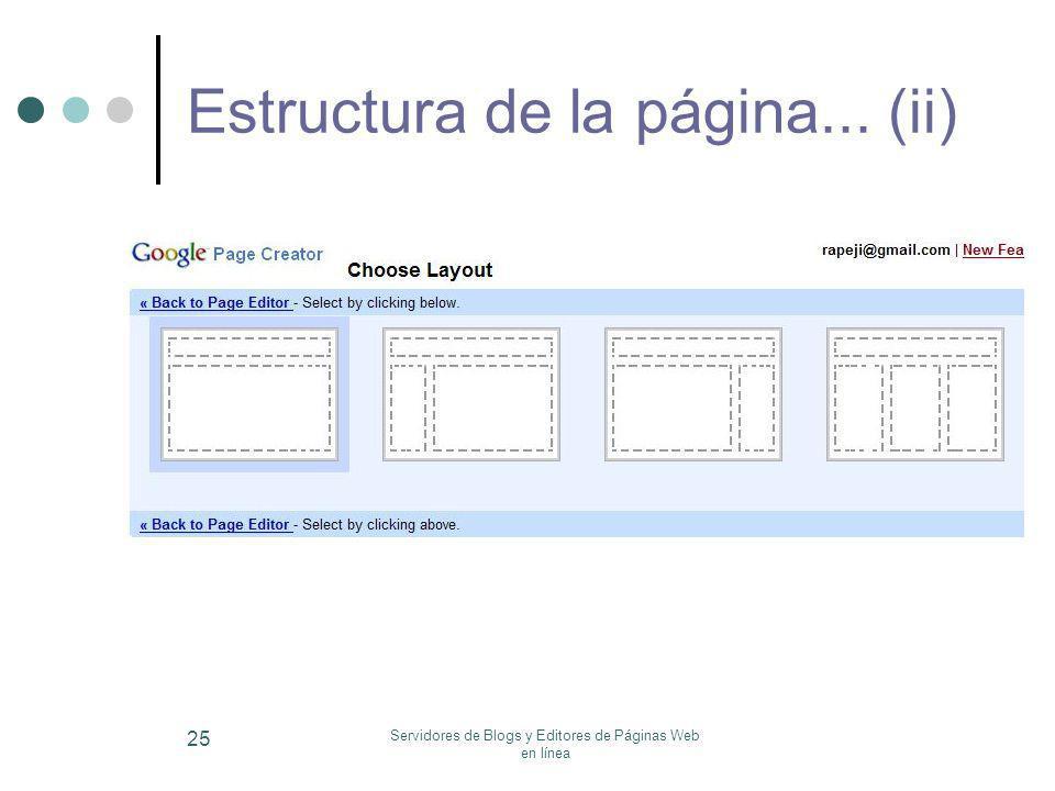 Servidores de Blogs y Editores de Páginas Web en línea 25 Estructura de la página... (ii)