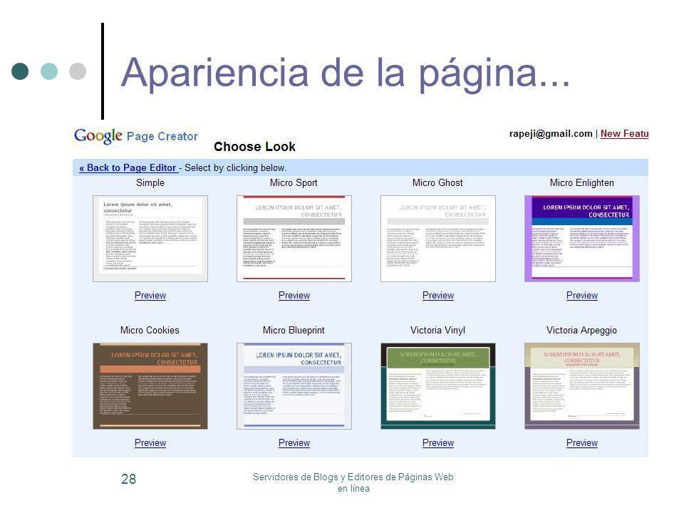 Servidores de Blogs y Editores de Páginas Web en línea 28 Apariencia de la página...