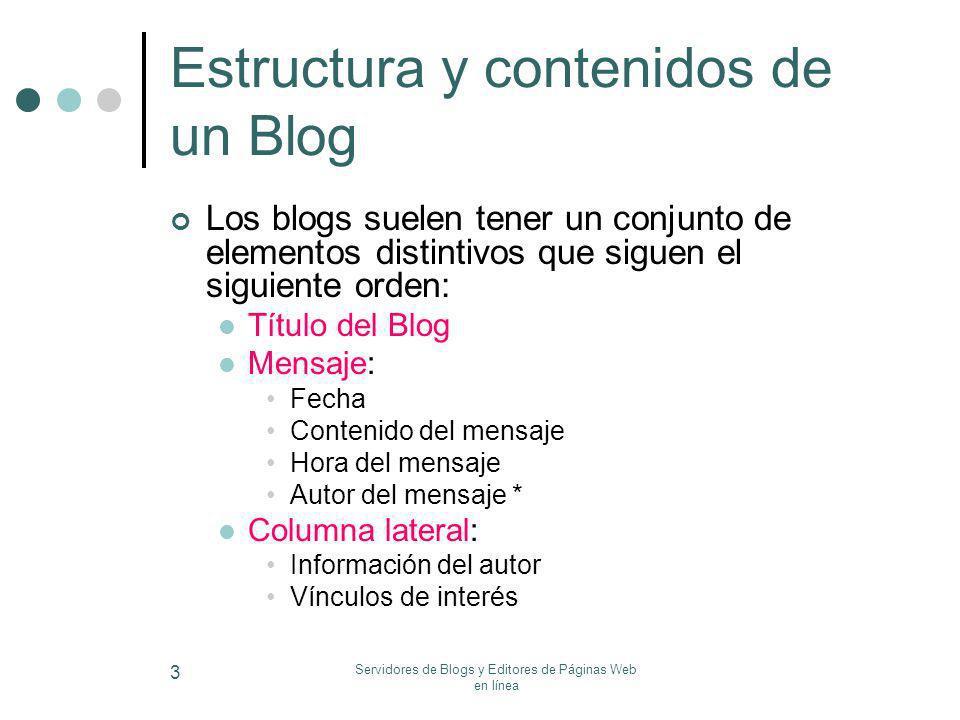 Servidores de Blogs y Editores de Páginas Web en línea 3 Estructura y contenidos de un Blog Los blogs suelen tener un conjunto de elementos distintivo