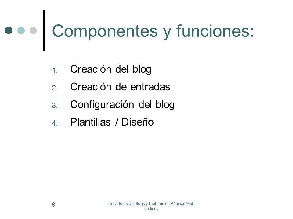 Servidores de Blogs y Editores de Páginas Web en línea 8 Componentes y funciones: 1. Creación del blog 2. Creación de entradas 3. Configuración del bl