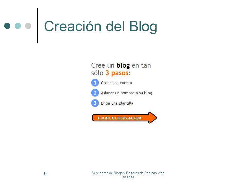 Servidores de Blogs y Editores de Páginas Web en línea 9 Creación del Blog