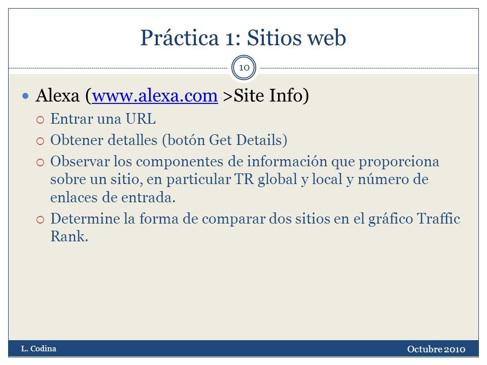 Práctica 1: Sitios web Alexa (www.alexa.com >Site Info)www.alexa.com Entrar una URL Obtener detalles (botón Get Details) Observar los componentes de información que proporciona sobre un sitio, en particular TR global y local y número de enlaces de entrada.