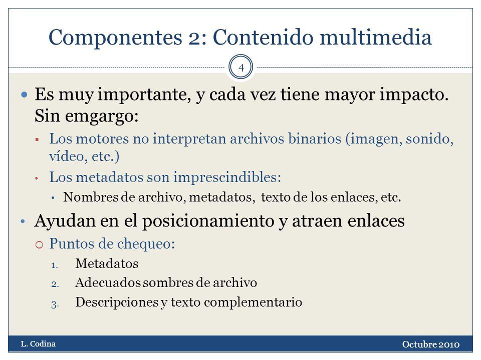 Componentes 2: Contenido multimedia Es muy importante, y cada vez tiene mayor impacto. Sin emgargo: Los motores no interpretan archivos binarios (imag