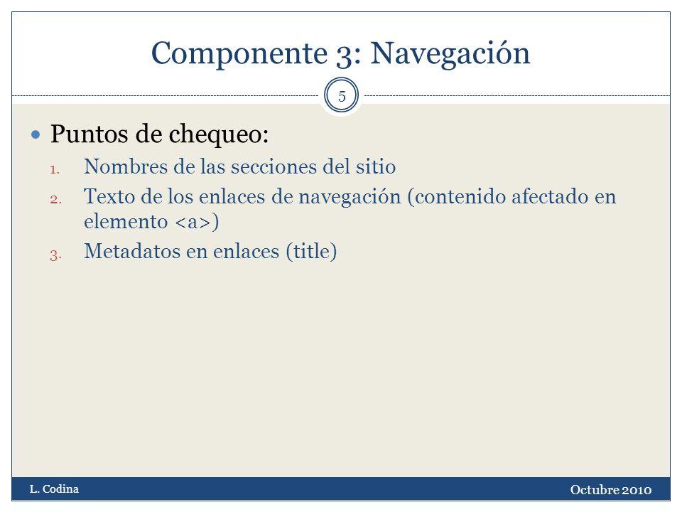 Componente 3: Navegación Puntos de chequeo: 1. Nombres de las secciones del sitio 2. Texto de los enlaces de navegación (contenido afectado en element