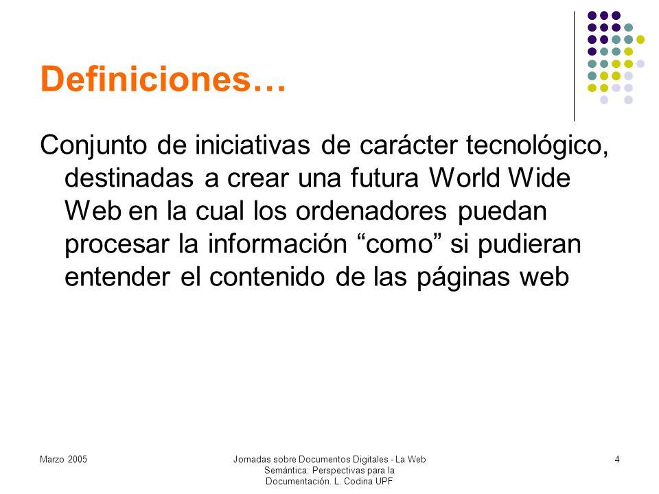 Marzo 2005Jornadas sobre Documentos Digitales - La Web Semántica: Perspectivas para la Documentación.