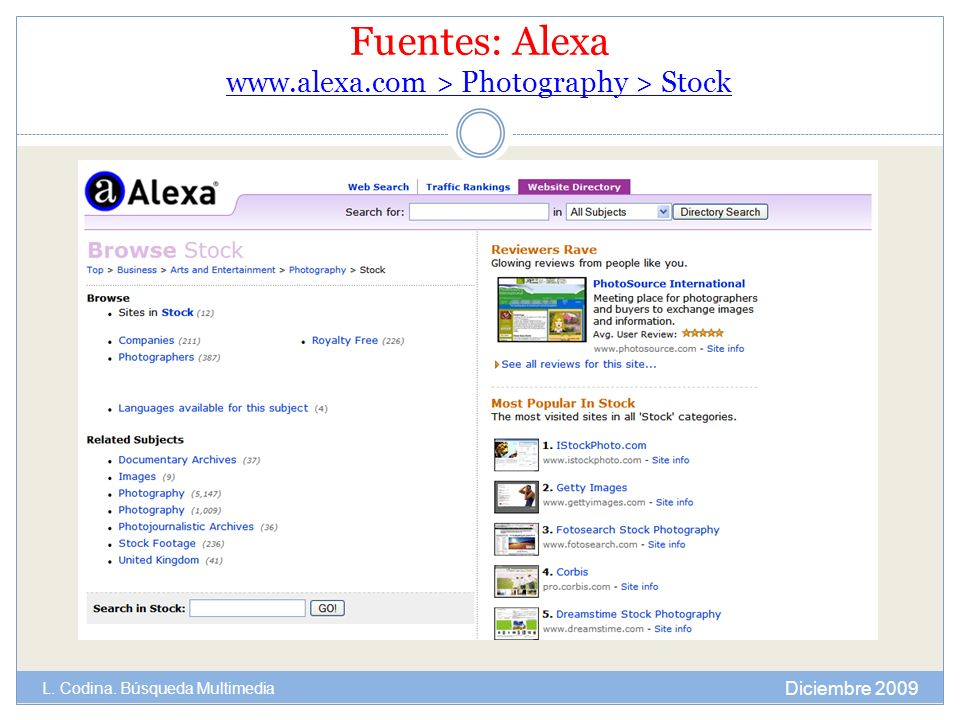 Fuentes: Alexa   > Photography > Stock   > Photography > Stock Diciembre 2009 L.
