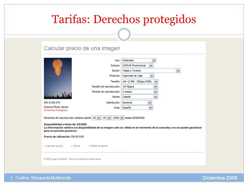 Tarifas: Derechos protegidos Diciembre 2009 L. Codina. Búsqueda Multimedia
