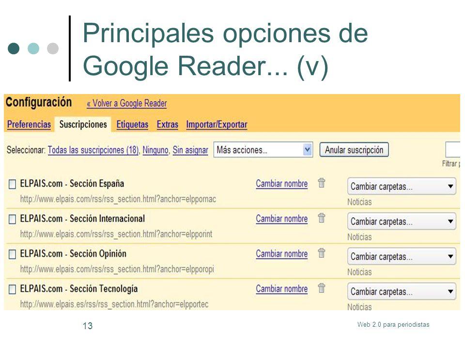 Web 2.0 para periodistas 13 Principales opciones de Google Reader... (v)
