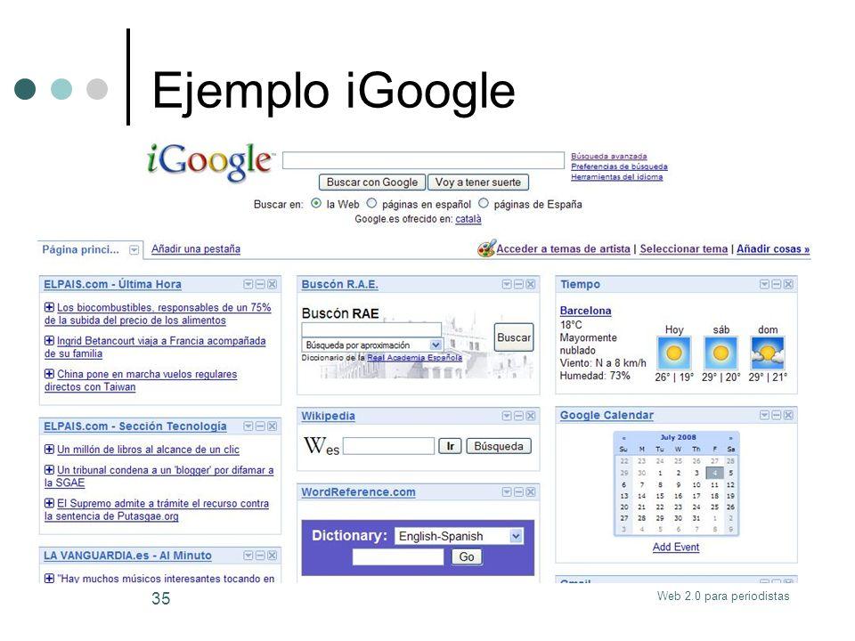 Web 2.0 para periodistas 35 Ejemplo iGoogle