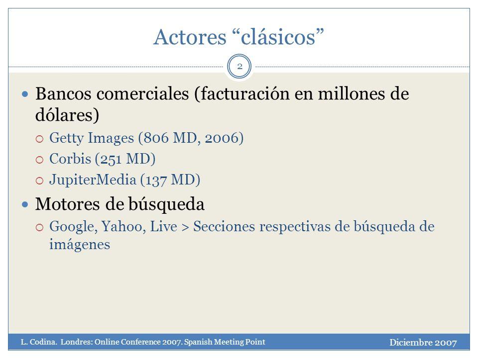 Actores clásicos 2 Bancos comerciales (facturación en millones de dólares) Getty Images (806 MD, 2006) Corbis (251 MD) JupiterMedia (137 MD) Motores de búsqueda Google, Yahoo, Live > Secciones respectivas de búsqueda de imágenes Diciembre 2007 L.