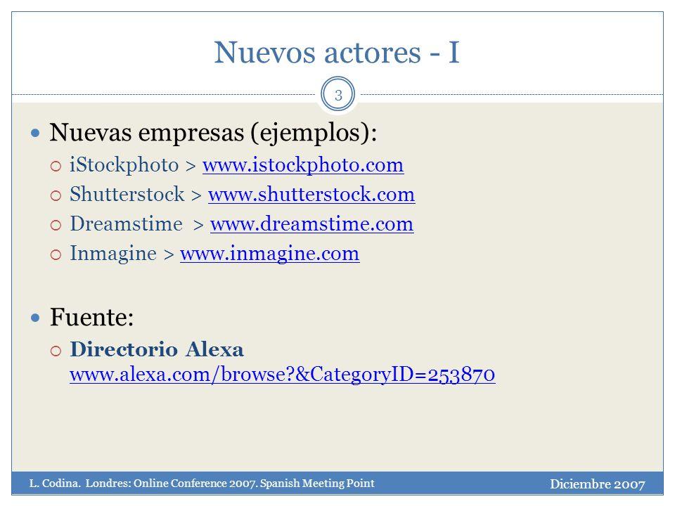 Nuevos actores - I 3 Nuevas empresas (ejemplos): iStockphoto > www.istockphoto.comwww.istockphoto.com Shutterstock > www.shutterstock.comwww.shutterstock.com Dreamstime > www.dreamstime.comwww.dreamstime.com Inmagine > www.inmagine.comwww.inmagine.com Fuente: Directorio Alexa www.alexa.com/browse &CategoryID=253870 www.alexa.com/browse &CategoryID=253870 Diciembre 2007 L.