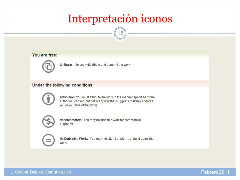 Interpretación iconos Febrero 2011 L. Codina. Dep. de Comunicación 16